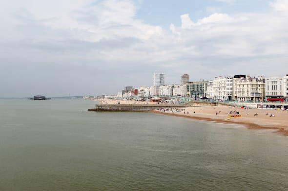 Brighton Beach, seafront and old West pier