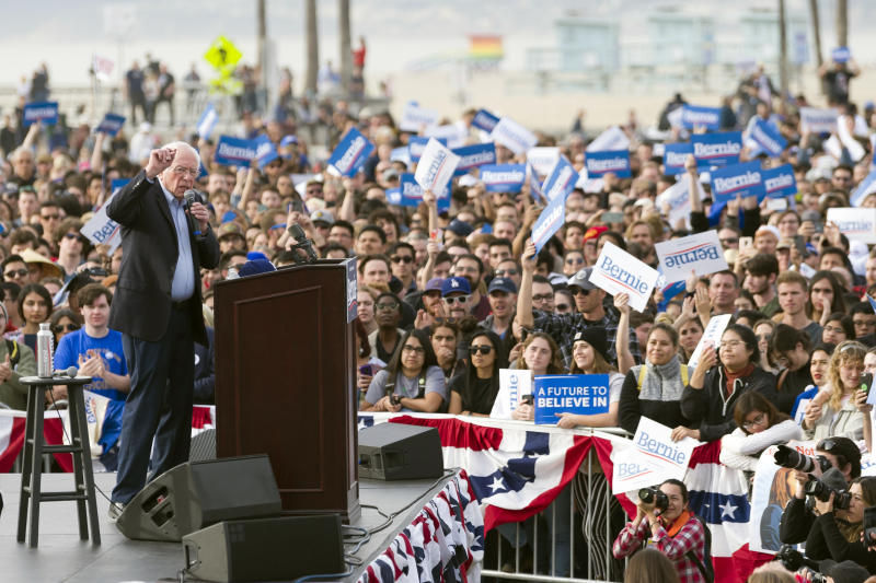 FILE - In this Dec. 21, 2019, file photo, Democratic presidential candidate Sen. Bernie Sanders, I-Vt., speaks during a rally in Venice, Calif. California is the largest prize in the calculations of any Democratic presidential candidate, but it rarely seems that way.  (AP Photo/Kelvin Kuo, File)