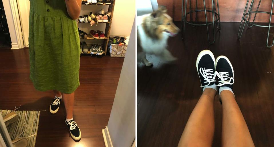 My sneakers, featuring a ghastly image of the dog who covers them in fur.