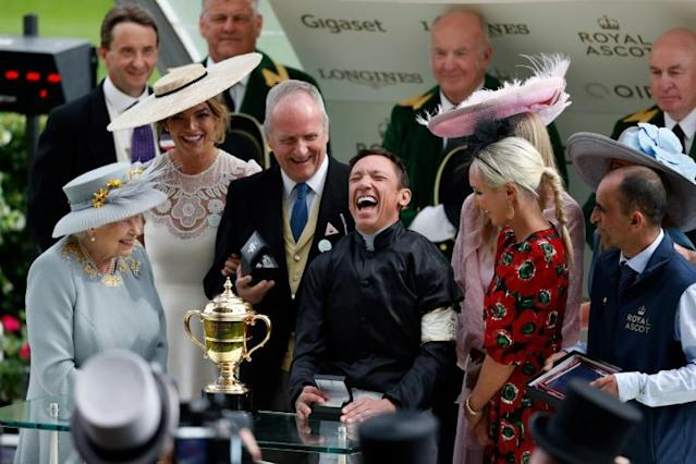 Stradivarius owner/breeder Bjorn Nielsen (third from left) burst into tears as his equine star won the Lonsdale Cup to extend his winning streak to nine races (AFP Photo/Adrian DENNIS)