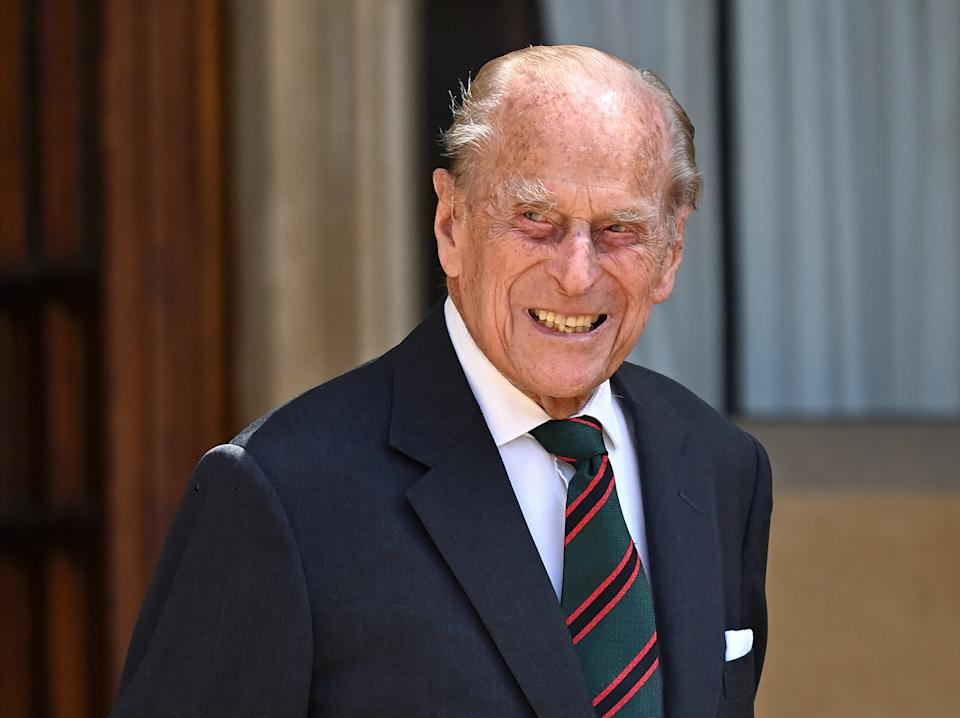 Prince Philip, Duke of Edinburgh wearing the regimental tie of The Rifles