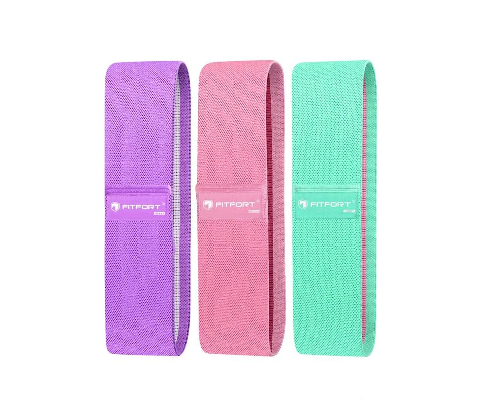 """<h3>FITFORT Resistance Bands for Legs and Butt</h3><br>It's not a dealbreaker, but it's always a nice bonus when our workout gear isn't the kind that we want to keep hidden in a bin under your bed. These bright-colored bands are perfect for cheering you up while you do unlimited (okay, 15 reps on each side) of fire hydrant moves.<br><br><strong>Fitfort</strong> Resistance Bands for Legs and Butt Exercise Bands, $, available at <a href=""""https://amzn.to/3awAyub"""" rel=""""nofollow noopener"""" target=""""_blank"""" data-ylk=""""slk:Amazon"""" class=""""link rapid-noclick-resp"""">Amazon</a>"""