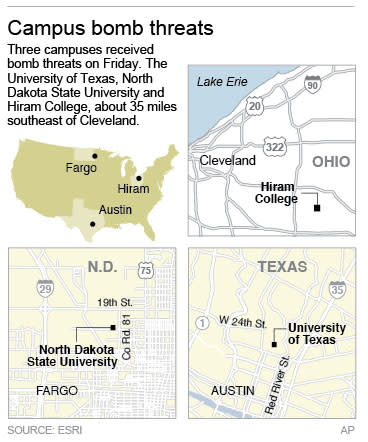 Three maps locate separate university campuses that have received bomb threats