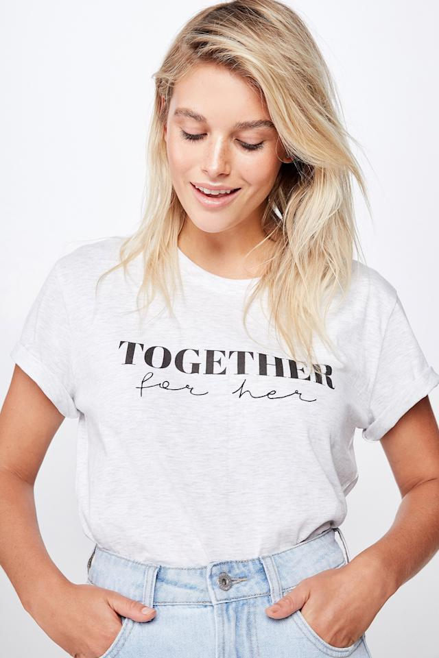 """Fashion brand Cotton On has teamed up with Girl Up, an organization empowering young women to defend gender equality, to create a limited-edition collection supporting the<a href=""""https://www.cottononfoundation.org/"""">Cotton On Foundation</a>. The capsule, featuring a variety of empowering graphic t-shirts and tote bags, will raise money to help girls in Uganda overcome barriers preventing them from attending school.Shop the feel-good capsule at <a href=""""http://protect-us.mimecast.com/s/Nz_bCqxoxLs8gm22KUQyPdP?domain=cottonon.com"""">CottonOn.com.</a>"""