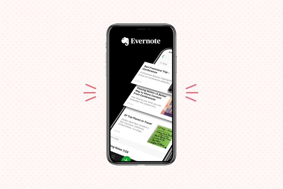 """<p>As a popular notes organizer and planner app, <a href=""""https://evernote.com/download"""" rel=""""nofollow noopener"""" target=""""_blank"""" data-ylk=""""slk:Evernote"""" class=""""link rapid-noclick-resp"""">Evernote</a> is a favorite for <strong>taking notes and organizing all of your ideas in one place</strong>. The app allows you to capture notes not just with writing, but also with photos, audio, digital sketches, PDFs, and more — and it's all instantly searchable (yes, even images!). Plus, you can sync all your notes across different devices for an easy way to keep it all on the go. </p><p><strong>Cost: </strong>Free</p><p><strong><strong>Get it for </strong><a href=""""https://play.google.com/store/apps/details?id=com.evernote"""" rel=""""nofollow noopener"""" target=""""_blank"""" data-ylk=""""slk:Android"""" class=""""link rapid-noclick-resp"""">Android</a> or <a href=""""https://apps.apple.com/us/app/evernote/id281796108"""" rel=""""nofollow noopener"""" target=""""_blank"""" data-ylk=""""slk:IOS"""" class=""""link rapid-noclick-resp"""">IOS</a></strong></p>"""