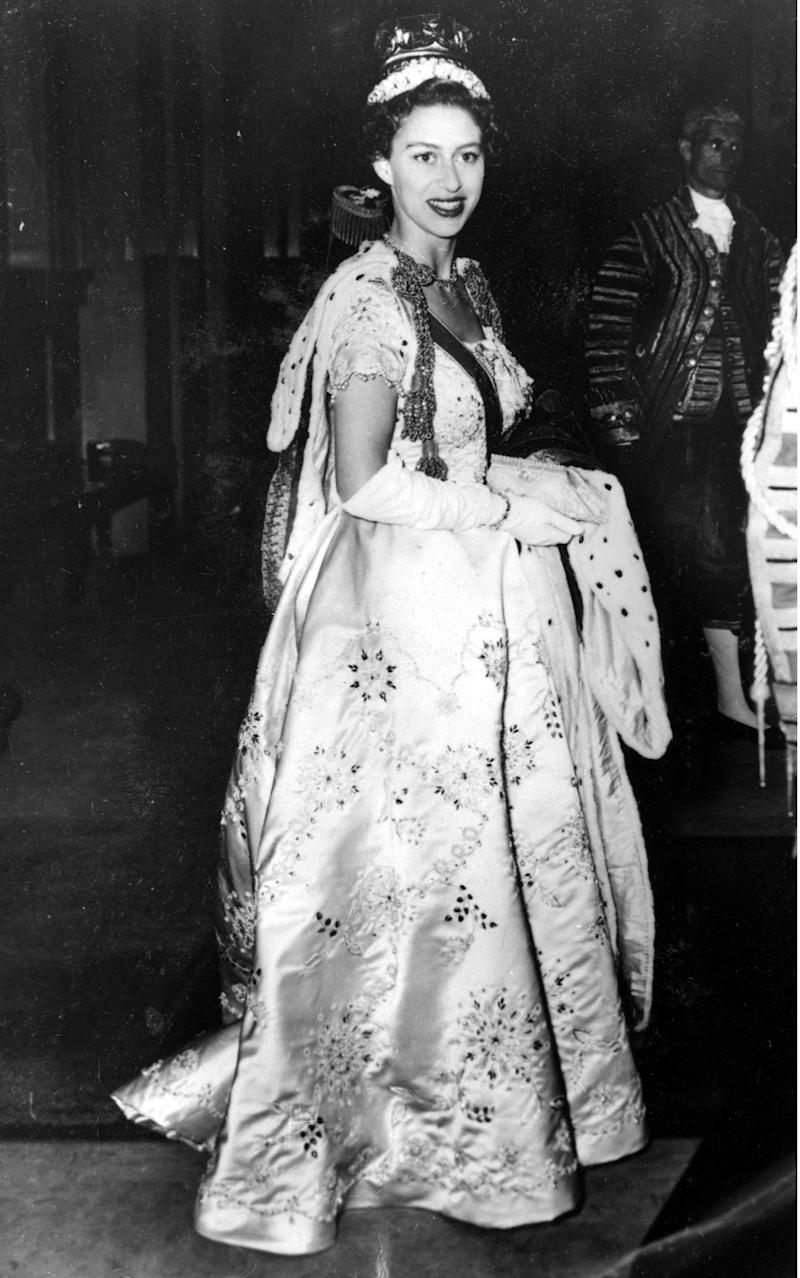 Princess Margaret wearing the dress created for her by Norman Hartnell - Rex
