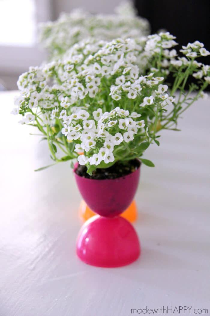 """<p>This easy kids craft comes together using plastic Easter eggs and hot glue—and you get to try out your green thumbs together, too!</p><p><strong>Get the tutorial at <a href=""""https://www.madewithhappy.com/plastic-easter-egg-flower-pots/"""" rel=""""nofollow noopener"""" target=""""_blank"""" data-ylk=""""slk:Made With Happy"""" class=""""link rapid-noclick-resp"""">Made With Happy</a>.</strong></p>"""