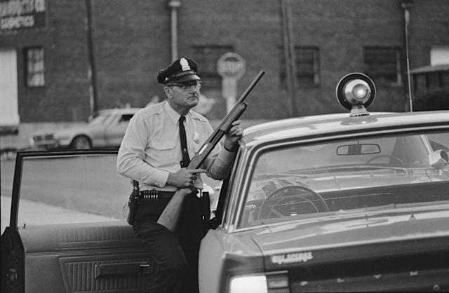 <p>An unidentified police officer stands at the scene after the assassination of civil rights leader Dr. Martin Luther King Jr., at the Lorraine Motel, Memphis, Tenn., April 4, 1968. (Photo: Joseph Louw/The LIFE Images Collection/Getty Images) </p>