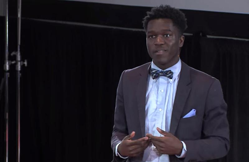 Seun Babalola delivers a TEDx talk in 2017. (YouTube)