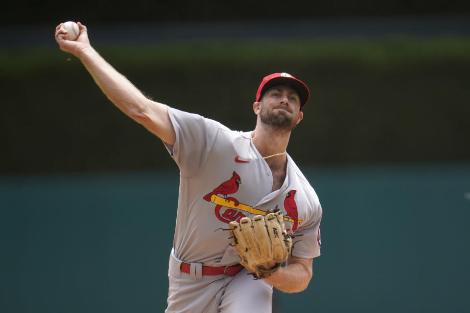 St. Louis Cardinals pitcher John Gant throws against the Detroit Tigers in the first inning of a baseball game in Detroit, Wednesday, June 23, 2021. (AP Photo/Paul Sancya)