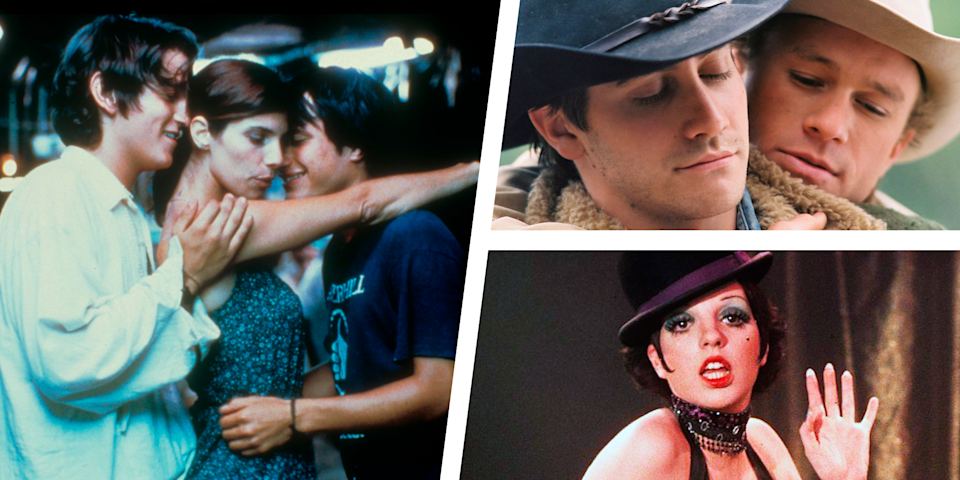 """<p>It's not easy to find a movie with bisexual characters. It's even harder to find one that offers a positive and authentic depiction of bisexuality. All too often, when a film has bisexual or pansexual characters, they're often depicted as greedy villains. This is because sexual fluidity is equated to moral fluidity, notes <a href=""""https://www.washingtonpost.com/news/soloish/wp/2016/11/17/tv-producers-stop-portraying-bisexuals-as-villains/"""" rel=""""nofollow noopener"""" target=""""_blank"""" data-ylk=""""slk:The Washington Post"""" class=""""link rapid-noclick-resp""""><em>The Washington Post</em></a>. If bi folks aren't depicted as evil, then often they're the butt of a joke that insinuates bisexuality is merely a phase. </p><p>This sucks for bi people. We want to see stories where we're represented in a real and positive manner. In our day to day lives, we experience so much <a href=""""https://www.menshealth.com/sex-women/a28980779/bisexual-men/"""" rel=""""nofollow noopener"""" target=""""_blank"""" data-ylk=""""slk:biphobia"""" class=""""link rapid-noclick-resp"""">biphobia</a>, so seeing authentic depictions of bisexuality help us remember that we're not alone—that there are other bi folks out there. It also helps us realize that it's not all bad. Bisexual people, too, can have a happy ending and find the love of their lives. </p><p>In honor of #BiWeek, we're celebrating films that have done a great (or at least reasonably decent) job at depicting bisexuality on the silver screen. Sure, not all of these films have a happy ending—<em>Call Me By Your Name</em>, in particular, left me left in tears. Nevertheless, all of them, including <em>Behind the Candelabra</em>, <em>Imagine Me and You</em>, and <em>Chasing Amy</em>, offers a more authentic and diverse depiction of how bisexuality manifests. After all, there's no one right way to be bisexual. </p><p>With all that said, here are 16 movies that showcase bisexual identity. </p>"""