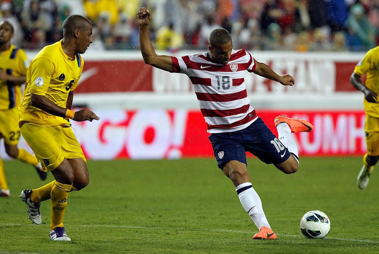 TAMPA, FL - JUNE 08:  Forward Terrence Boyd #18 of Team USA shoots against Team Antigua and Barbuda during the FIFA World Cup Qualifier Match at Raymond James Stadium on June 8, 2012 in Tampa, Florida.  (Photo by J. Meric/Getty Images)