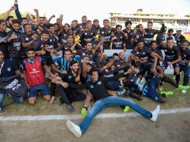 Minerva Punjab players celebrate their I-League title. Image courtesy: Twitter/@Minerva_AFC