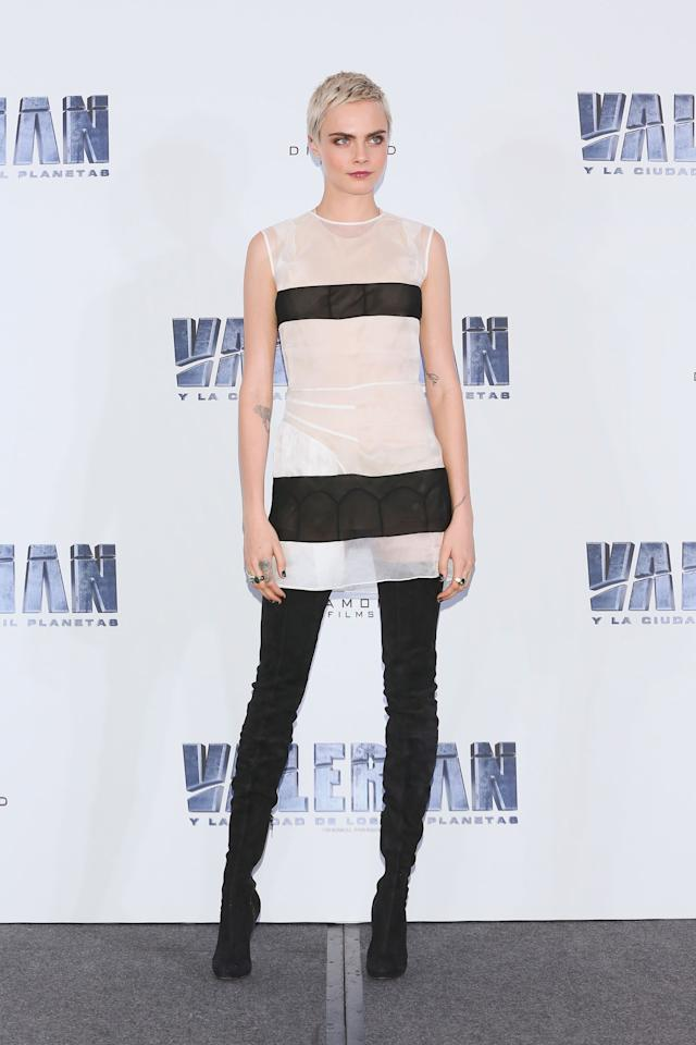 <p>In $2,195<span> Christian Louboutin suede boots a</span>t the <em>Valerian </em><span>photo call in Mexico City, Mexico.</span></p>