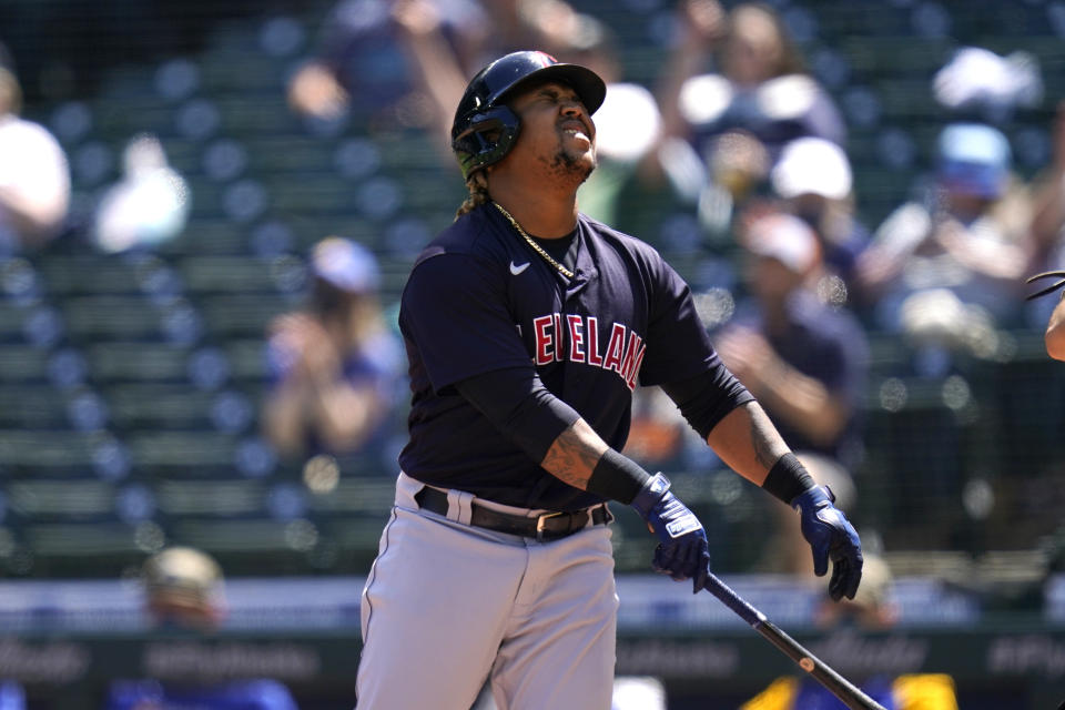 Cleveland Indians' Jose Ramirez reacts after striking out swinging against the Seattle Mariners to end the top of the first inning of a baseball game Sunday, May 16, 2021, in Seattle. (AP Photo/Elaine Thompson)