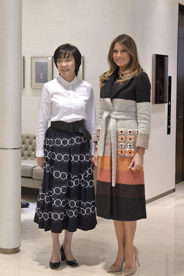 Melania Trump meets with Akie Abe, the first lady of Japan. (Photo: AP)