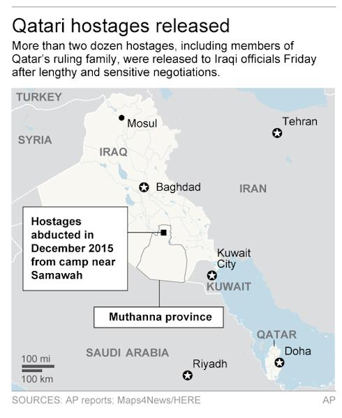 Map shows Mideast and location of 2015 Iraq abductions; 2c x 4 inches; 96.3 mm x 101 mm;