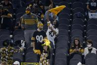 Pittsburgh Steelers fans cheer on their team late in the second half of an NFL football game against the Dallas Cowboys in Arlington, Texas, Sunday, Nov. 8, 2020. (AP Photo/Ron Jenkins)