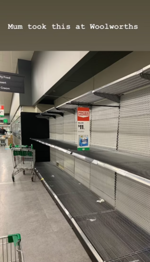 Empty shelves at Woolworths.