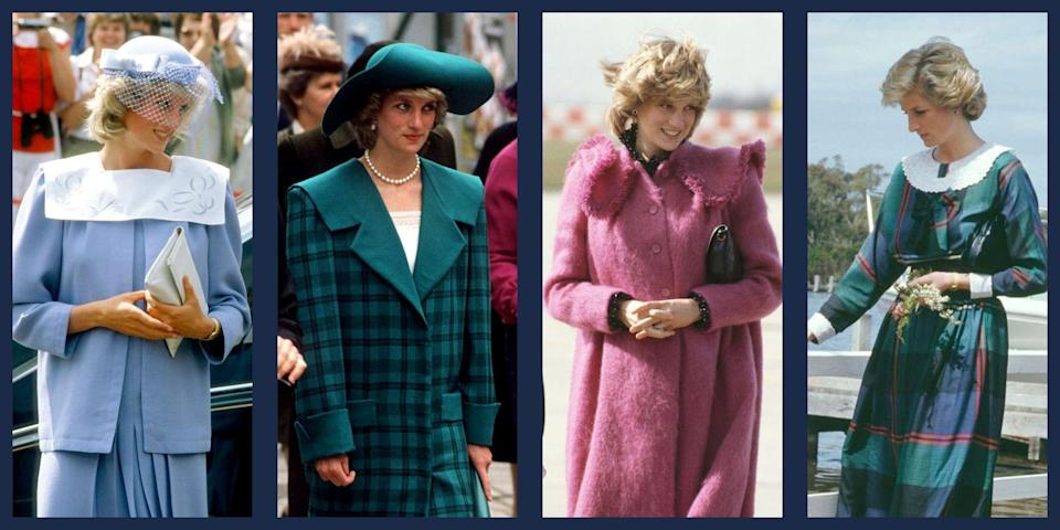"""<p>Without a doubt, Princess Diana was one of the biggest fashion icons of the 20th century. From her <a href=""""https://www.townandcountrymag.com/the-scene/weddings/g18205746/princess-diana-wedding-dress/"""" rel=""""nofollow noopener"""" target=""""_blank"""" data-ylk=""""slk:record-setting wedding dress"""" class=""""link rapid-noclick-resp"""">record-setting wedding dress</a>, to her penchant for <a href=""""https://www.townandcountrymag.com/society/tradition/g35586267/princess-diana-sailor-dress-fashion-photos/"""" rel=""""nofollow noopener"""" target=""""_blank"""" data-ylk=""""slk:sailor necklines"""" class=""""link rapid-noclick-resp"""">sailor necklines</a> and cheeky sweaters, the late Princess of Wales never failed to turn heads in perfectly selected dresses, coats and outfits; much like her future daughters in law, <a href=""""https://www.townandcountrymag.com/style/fashion-trends/news/g1633/kate-middleton-fashion/"""" rel=""""nofollow noopener"""" target=""""_blank"""" data-ylk=""""slk:Kate Middleton"""" class=""""link rapid-noclick-resp"""">Kate Middleton</a> and <a href=""""https://www.townandcountrymag.com/style/fashion-trends/g3272/meghan-markle-preppy-style/"""" rel=""""nofollow noopener"""" target=""""_blank"""" data-ylk=""""slk:Meghan Markle"""" class=""""link rapid-noclick-resp"""">Meghan Markle</a> do now. </p><p>Seeing as <a href=""""https://www.townandcountrymag.com/style/fashion-trends/g35843582/big-collar-shirts-fashion-trend/"""" rel=""""nofollow noopener"""" target=""""_blank"""" data-ylk=""""slk:the wide collar"""" class=""""link rapid-noclick-resp"""">the wide collar </a>has seen a resurgence in popularity in the last few months, take some inspiration from a royal fashion plate for how to wear the style. Here, 33 times that Princess Diana wore wide collars. </p>"""
