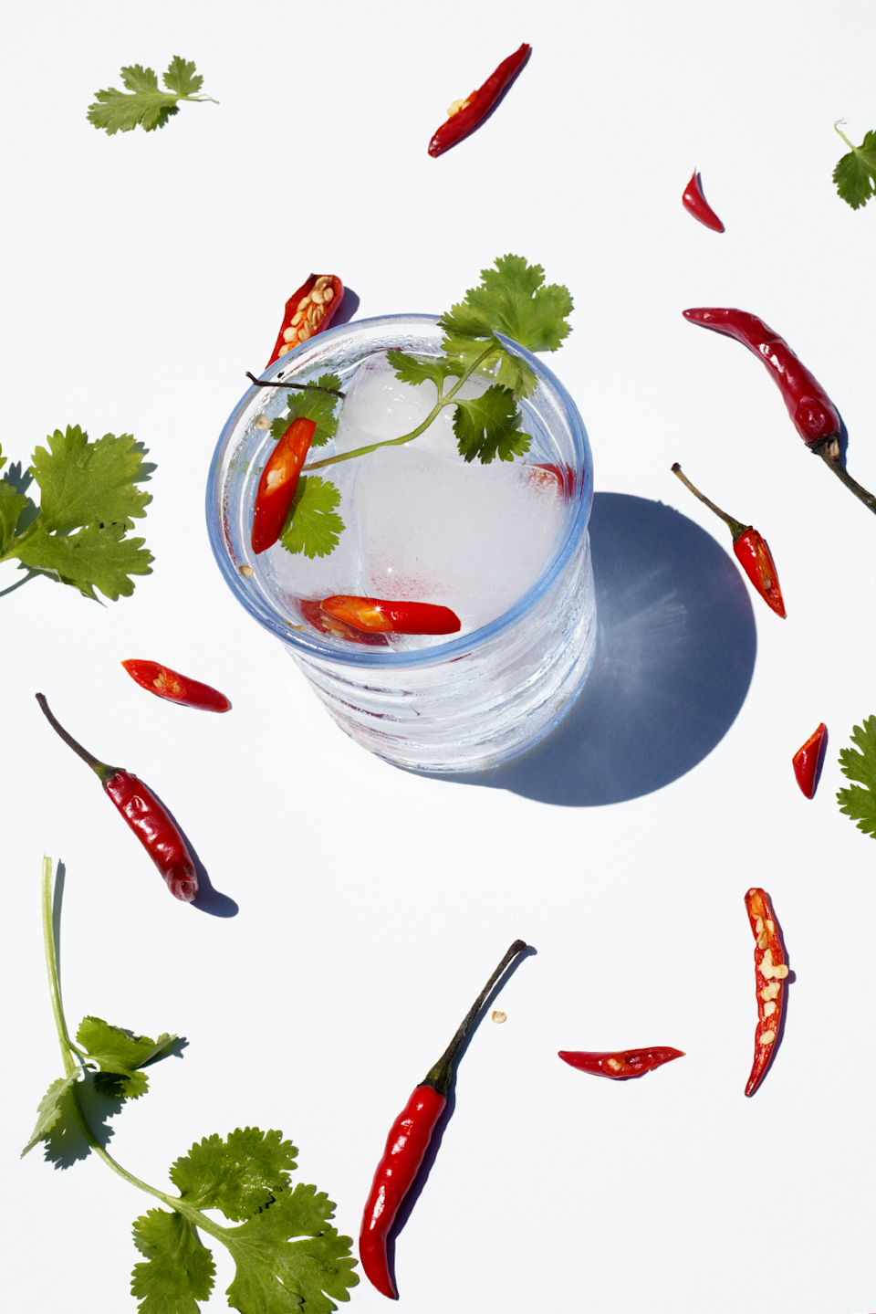 """<strong>Chilli & Coriander</strong><br><br>Coriander is often used in the making of gin, so it's no surprise that herb works well as a garnish to gin and tonic. With the addition of chilli, this makes for a punchy combination with a kick.<br><br><strong>Ingredients (Makes 1)</strong><br>50ml gin<br>1 red chilli, halved lengthways<br>Coriander<br>Tonic water<br>Ice<br><br><strong>Method</strong><br>Fill a glass with ice and add the gin. Top with tonic, and garnish with the halved chilli and a sprig of coriander.<span class=""""copyright"""">Photographed by <strong>Roxana Azar</strong></span>"""