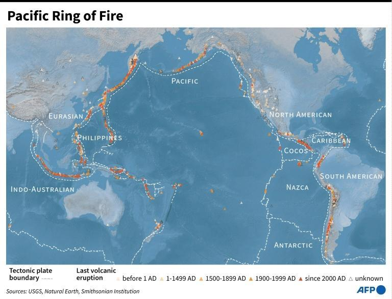 The Pacific Ring of Fire is where several of the Earth's tectonic plates meet and is the location of many earthquakes