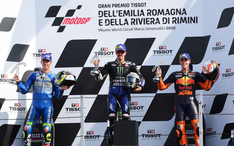 Vinales wins Emilia Romagna Grand Prix as Bagnaia crashes
