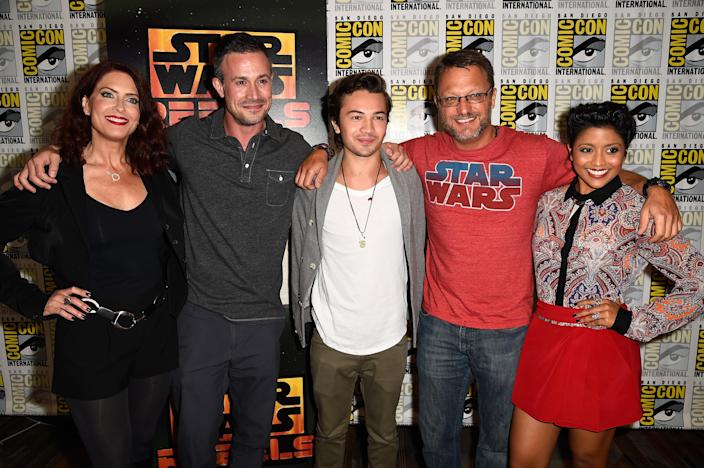"""(L-R) Vanessa Marshall, Freddie Prinze Jr., Taylor Gray, Steve Blum and Tiya Sircar, the stars who voiced the characters in """"Star Wars: Rebels"""", pictured at Comic-Con International in California on July 25, 2014 (AFP Photo/Frazer Harrison)"""