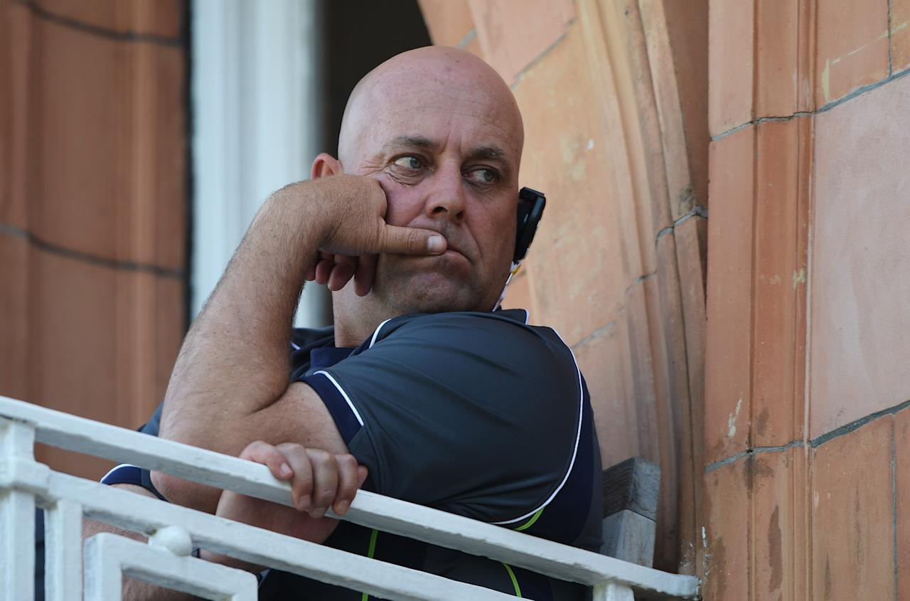 LONDON, ENGLAND - JULY 21:  Australia coach Darren Lehmann looks on from the team balcony during day four of the 2nd Investec Ashes Test match between England and Australia at Lord's Cricket Ground on July 21, 2013 in London, England.  (Photo by Gareth Copley/Getty Images)