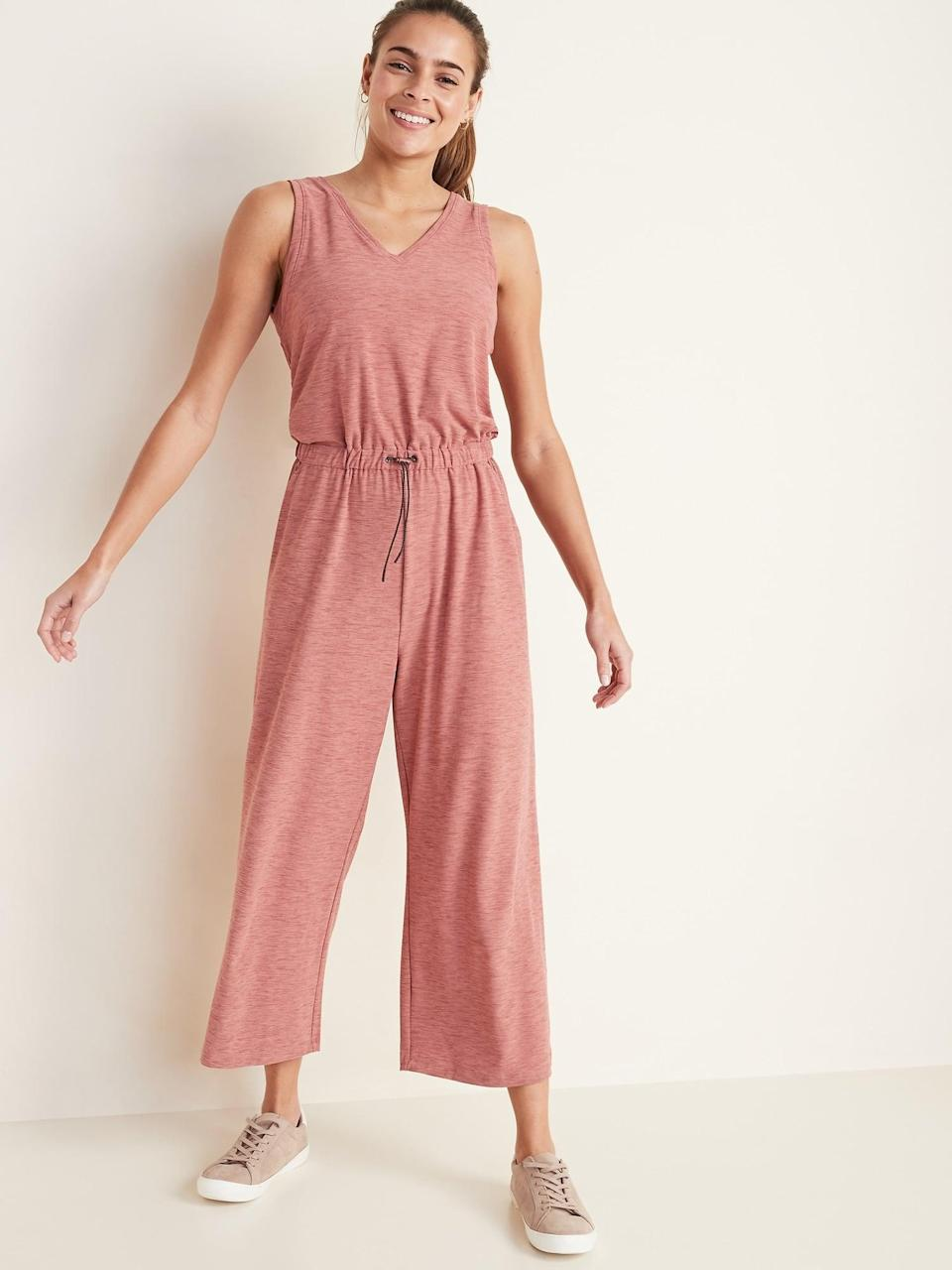 <p>If you love pink, get the <span>Old Navy Breathe ON V-Neck Wide-Leg Jumpsuit</span> ($40, originally $45).</p>