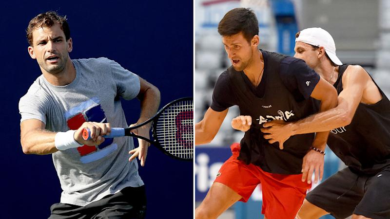 Pictured left, Grigor Dimitrov playing tennis and on the right he battles with Novak Djokovic in a game of basketball.