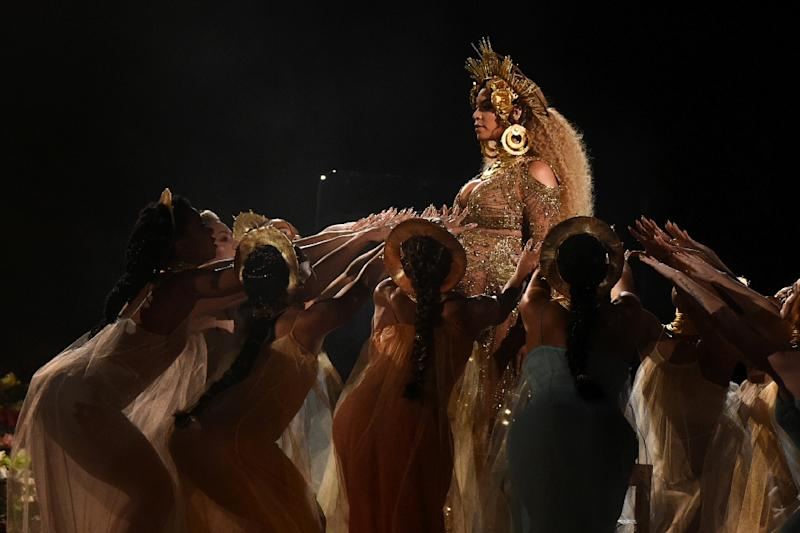 Beyonce performs at the 59th Annual Grammy music Awards earlier this year, days after announcing her pregnancy with twins (AFP Photo/VALERIE MACON                       )