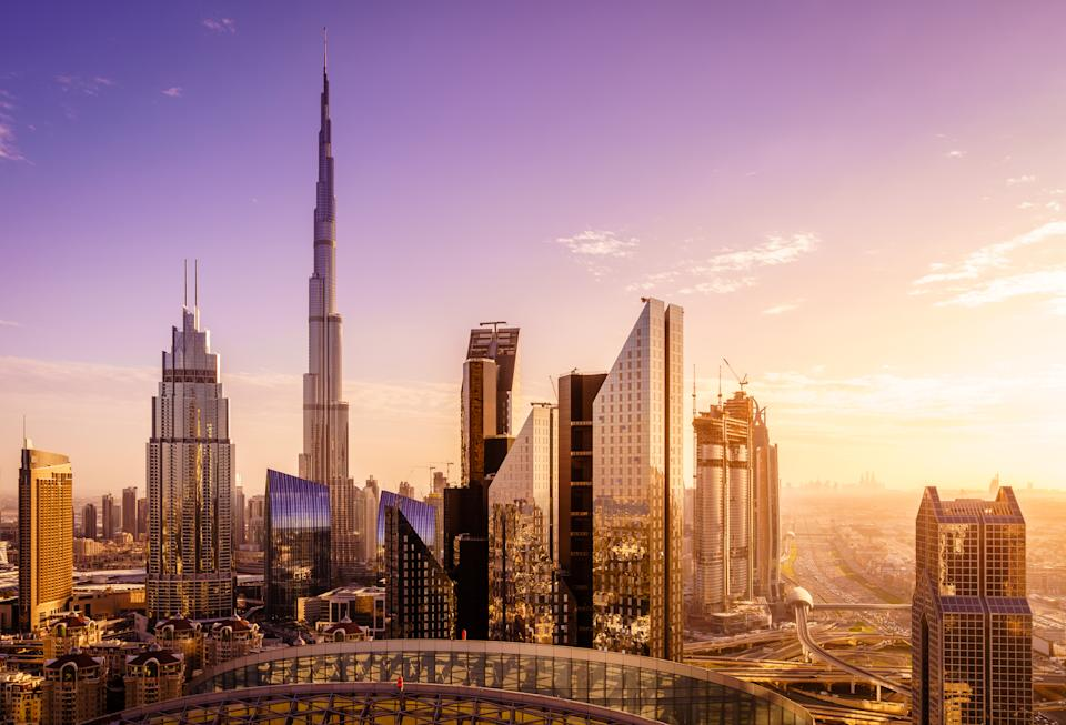 View of Dubai downtown skyline at sunset
