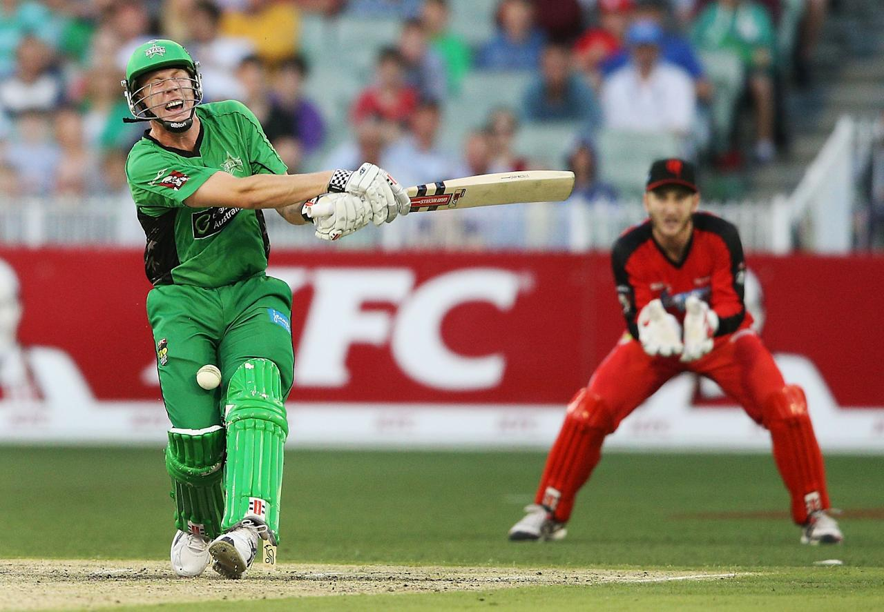 MELBOURNE, AUSTRALIA - JANUARY 06:  James Faulkner of the Melbourne Stars gets hit by the ball during the Big Bash League match between the Melbourne Stars and the Melbourne Renegades at Melbourne Cricket Ground on January 6, 2013 in Melbourne, Australia.  (Photo by Michael Dodge/Getty Images)