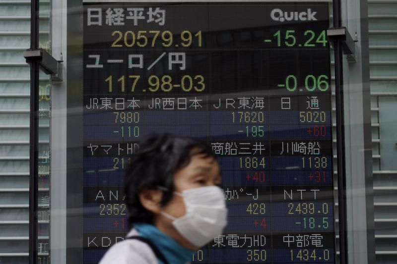 A masked woman walks past an electronic stock board showing Japan's Nikkei 225 index at a securities firm in Tokyo Thursday, May 21, 2020. Asian stock markets are mixed after Wall Street rose amid Chinese trade tension with Washington and Australia. Investors looked ahead to Friday's meeting of China's legislature for details of possible new steps by Beijing to stimulate its virus-battered economy. (AP Photo/Eugene Hoshiko)