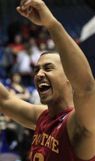 Iowa State guard Austin McBeth walks off court after they defeated Notre Dame 76-58 in a second-round game at the NCAA college basketball tournament, Friday, March 22, 2013, in Dayton, Ohio. (AP Photo/Skip Peterson)