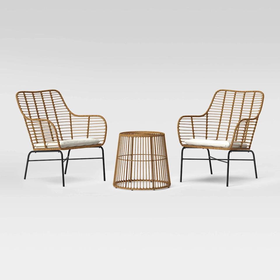 """<p>This cozy <a href=""""https://www.popsugar.com/buy/Natural-Resin-Wicker-Patio-Chat-Set-544818?p_name=Natural%20Resin%20Wicker%20Patio%20Chat%20Set&retailer=target.com&pid=544818&price=360&evar1=casa%3Aus&evar9=46067166&evar98=https%3A%2F%2Fwww.popsugar.com%2Fphoto-gallery%2F46067166%2Fimage%2F47541677%2FNatural-Resin-Wicker-Patio-Chat-Set&list1=shopping%2Cfurniture%2Csummer%2Coutdoor%20decorating&prop13=api&pdata=1"""" rel=""""nofollow"""" data-shoppable-link=""""1"""" target=""""_blank"""" class=""""ga-track"""" data-ga-category=""""Related"""" data-ga-label=""""https://www.target.com/p/3pc-natural-resin-wicker-patio-chat-set-linen-project-62-8482/-/A-76385796"""" data-ga-action=""""In-Line Links"""">Natural Resin Wicker Patio Chat Set</a> ($360, originally $400) comes with a perfectly sized table for snacks and drinks.</p>"""