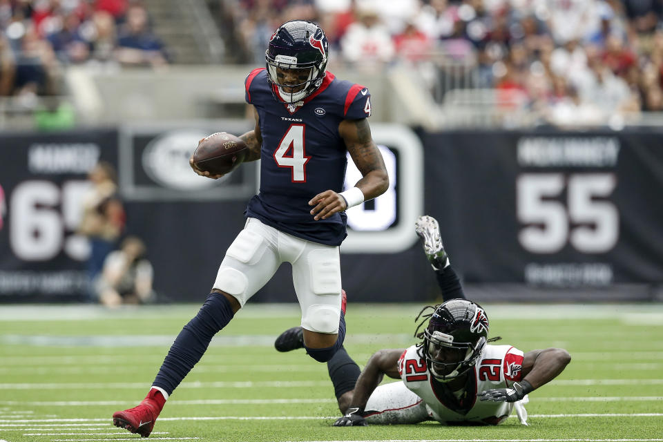 Game of his career: Houston's Deshaun Watson had one of the best statistical games in NFL history on Sunday. (Getty Images)