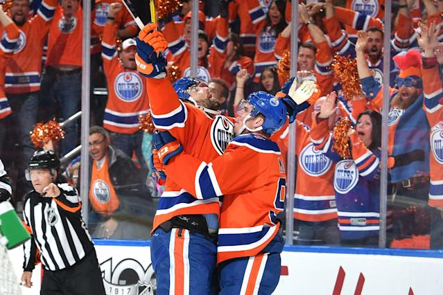 <p>Led by the electrifying Connor McDavid, the Oilers also ended a lengthy playoff drought and came within one game of reaching the Western Conference final. (Photo by Andy Devlin/NHLI via Getty Images) </p>