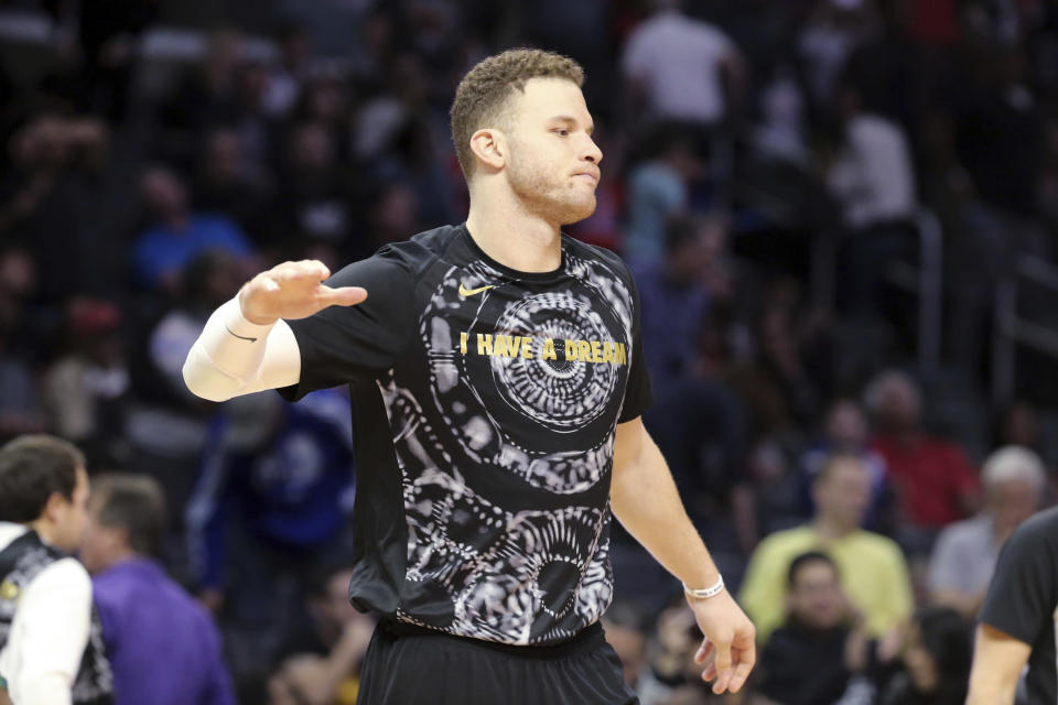 """Los Angeles Clippers forward Blake Griffin wears an """"I Have A Dream"""" warmup shirt in honor of the Martin Luther King Jr. holiday after a game against the Sacramento Kings on Saturday, Jan. 13, 2018. (AP)"""