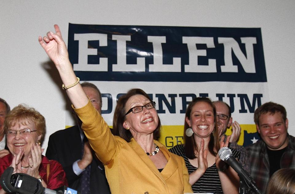 Oregon Attorney General candidate Ellen Rosenblum waves to supporters after winning her primary election in Portland, Ore., Tuesday, May 15, 2012.(AP Photo/Don Ryan)