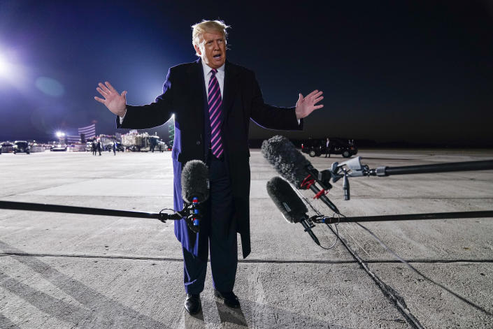 President Donald Trump speaks about the death of Supreme Court Justice Ruth Bader Ginsburg after a campaign rally at Bemidji Regional Airport, Friday, Sept. 18, 2020, in Bemidji, Minn. (AP Photo/Evan Vucci)