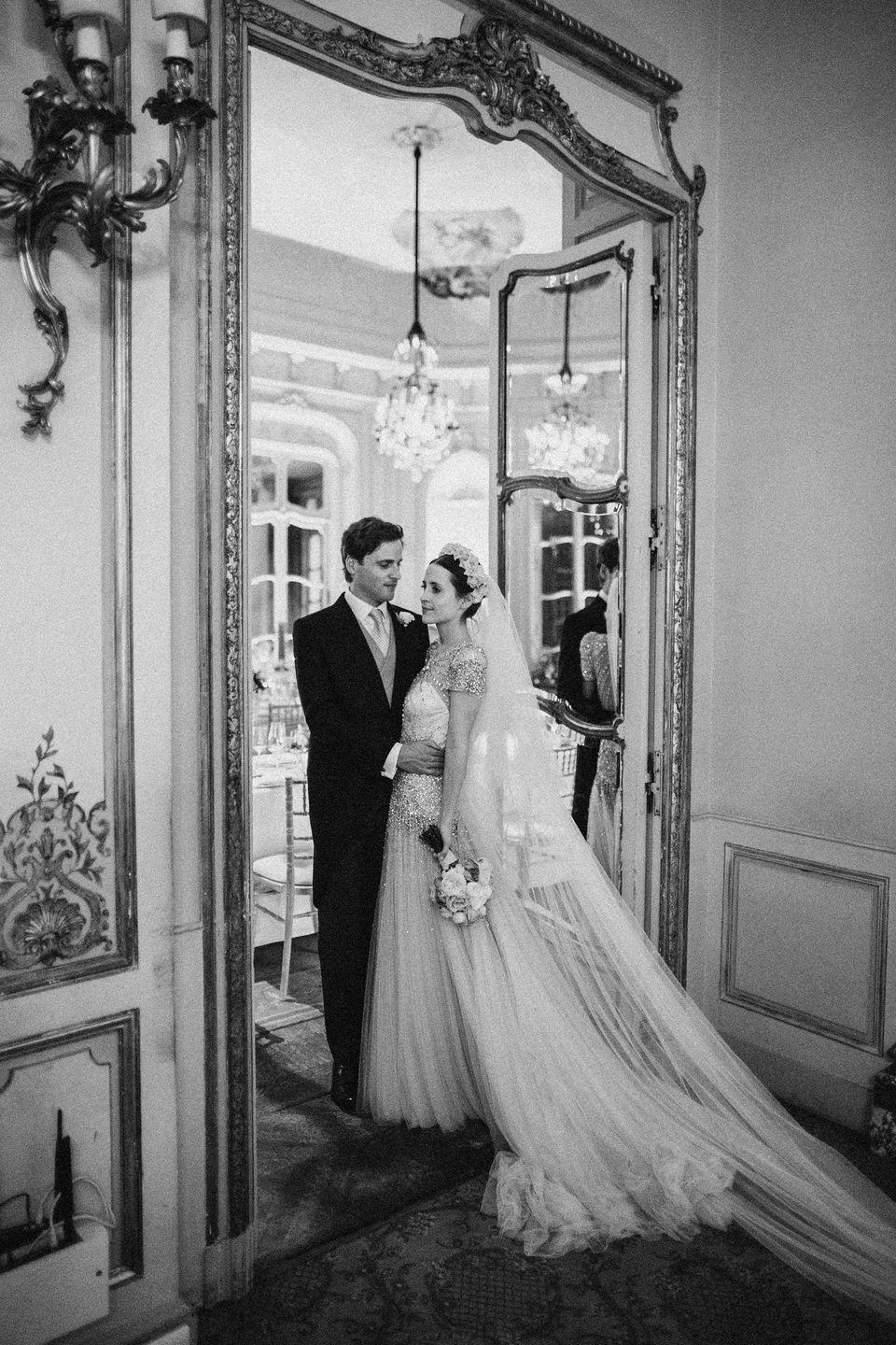 <p><strong>Wedding dress:</strong> Jenny Packham</p><p><strong>Veil:</strong> The Wedding Club</p><p><strong>Shoes:</strong> Aquazzura</p><p><strong>Headdress:</strong> Magnetic Midnight</p>