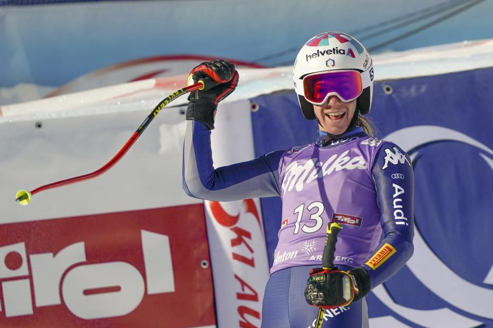 Italy's Marta Bassino cheers at the end of an alpine ski, women's World Cup super-G in St. Anton, Austria, Sunday, Jan.10, 2021. (AP Photo/Giovanni Auletta)