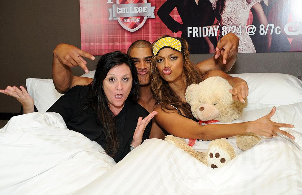 "<p class=""MsoNormal""><span style="" "">Speaking of college, Tyra Banks and her fellow judges Kelly Cutrone (left) and Rob Evans (center) staged a bizarre slumber party to celebrate the premiere of the model competition show ""America's Next Top Model: College Edition"" at the Tribeca Grand Hotel in New York City on Wednesday. (8/22/2012) </span></p>"