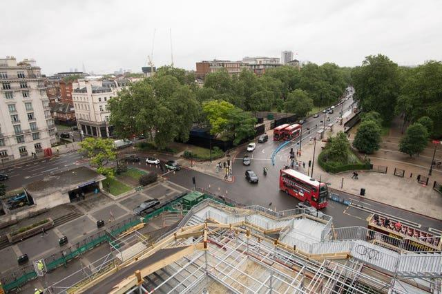View from the Marble Arch Mound in central London