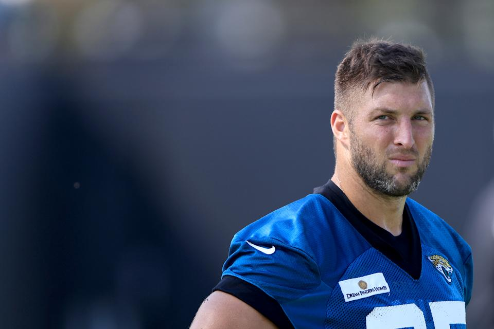 Tim Tebow of the Jacksonville Jaguars participates in drills.