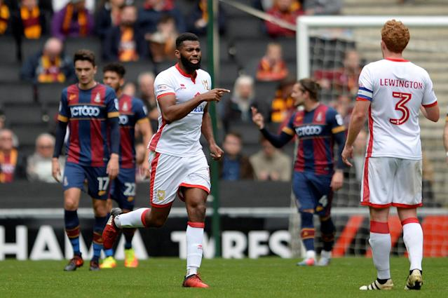 "Soccer Football - League One - Milton Keynes Dons vs Bradford City - Stadium MK, Milton Keynes, Britain - October 7, 2017 MK Dons' Ethan Ebanks-Landell celebrates scoring their first goal Action Images/Alan Walter EDITORIAL USE ONLY. No use with unauthorized audio, video, data, fixture lists, club/league logos or ""live"" services. Online in-match use limited to 75 images, no video emulation. No use in betting, games or single club/league/player publications. Please contact your account representative for further details."