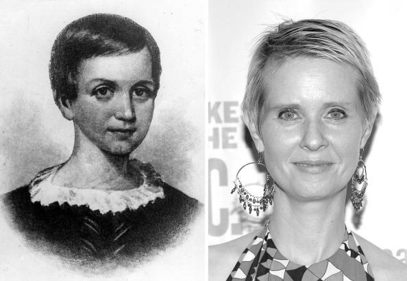 """(FILE PHOTO) In this composite image a comparison has been made between Emily Dickinson (L) and Cynthia Nixon. Actress Cynthia Nixon will reportedly play writer Emily Dickinson in a film biopic """"A Quiet Passion"""" written and directed by Terence Davies. ***LEFT IMAGE*** circa 1850: Emily Elizabeth Dickinson (1830 - 1886). She withdrew herself at the age of 23 from all social contacts and lived an intensely secluded life, writing over 1,000 poems. (Photo by Hulton Archive/Getty Images) ***RIGHT IMAGE*** NEW YORK - AUGUST 09: (EDITORS NOTE: Image has been converted to black and white.) Actress Cynthia Nixon attends """"Into The Woods"""" opening night celebration at the Delacorte Theater on August 9, 2012 in New York City. (Photo by Michael Loccisano/Getty Images)"""
