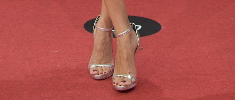 A closer look at the silver sandals Penelope Cruz wore on the red carpet. - Credit: Zuma / SplashNews.com